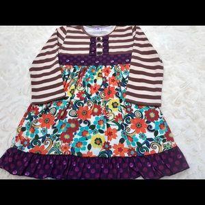 Other - NWT Plum Polka Dot Patchwork Fall Dress